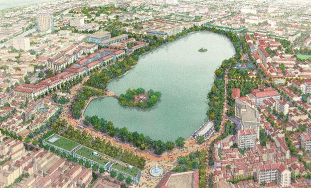 Hình ảnh minh họa xây dựng khu vực hồ Gươm và phụ cận (theo ý tưởng phục vụ cuộc thi)
