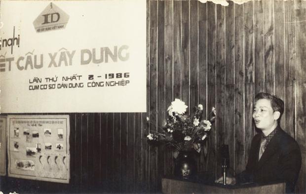 KS Nguyễn Hiển, Viện trưởng Viện Thiết kế Nhà ở và Công trình Công cộng (VNCC) báo cáo tại Hội nghị khoa học (1986)