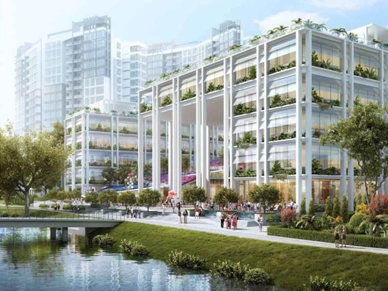Không gian xanh kết hợp với một dòng sông nhỏ ở thành phố sinh thái Punggol của Singapore.