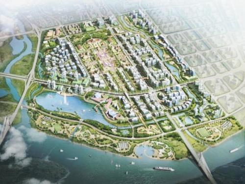 Phối cảnh khu trung tâm hành chính - chính trị thành phố Hải Phòng mới tại bờ Bắc sông Cấm