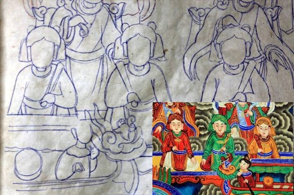 Nghề vẽ tranh truyền thống trên phố Hàng Trống  (Ảnh: Lê Bích)