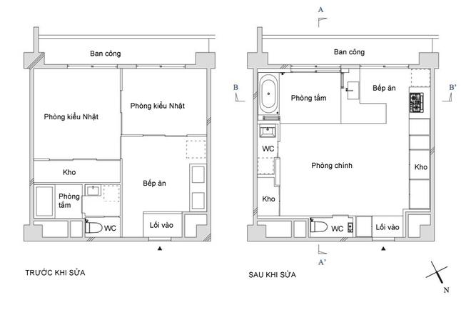 Gia đình sống ở căn hộ 40 m2 ở Nhật gồm hai vợ chồng, hai con nhỏ. Không gian cũ có 2 phòng ngủ kiểu Nhật, bếp ăn, phòng tắm. Tuy nhiên, gia đình mong muốn có thêm chỗ chơi cho con, phòng tắm cũng cần rộng hơn.