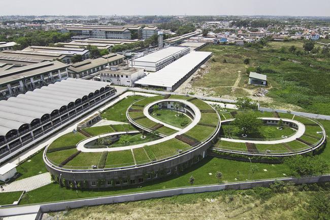 Công trình có thiết kế hình xuyến kết nối mái nhà với sân chơi tạo nên một màu xanh trải dài đẹp mắt và tươi mát.