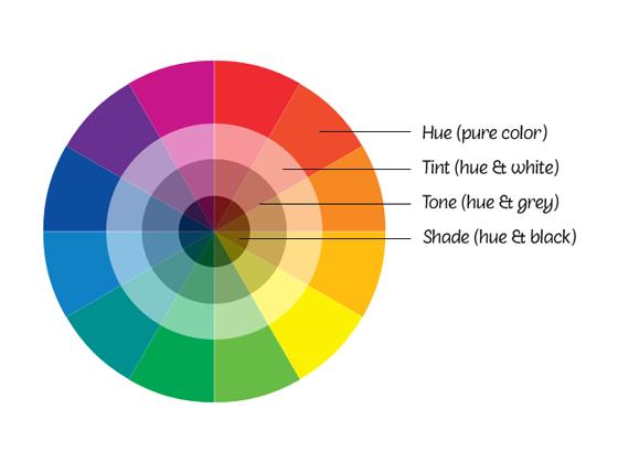 Mô tả về màu thuần khiết, màu tint, tone và shade