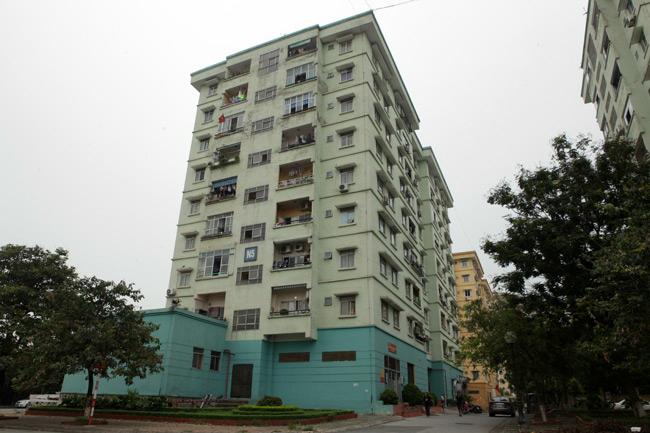 Chung cư N5, Đồng Tàu, phường Thịnh Liệt (Hoàng Mai, Hà Nội) nhìn từ bên ngoài