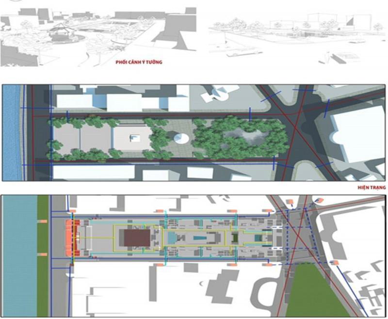 Thiết kế nghiên cứu áp dụng giải pháp 1-1: Trung tâm dịch vụ, văn hóa ngầm dưới quảng trường Lý Thái Tổ. Bổ sung dịch vụ cho du khách và dân cư xung quanh, tạo không gian hoạt động đáp ứng nhu cầu tập trung đông người những ngày lễ hội.