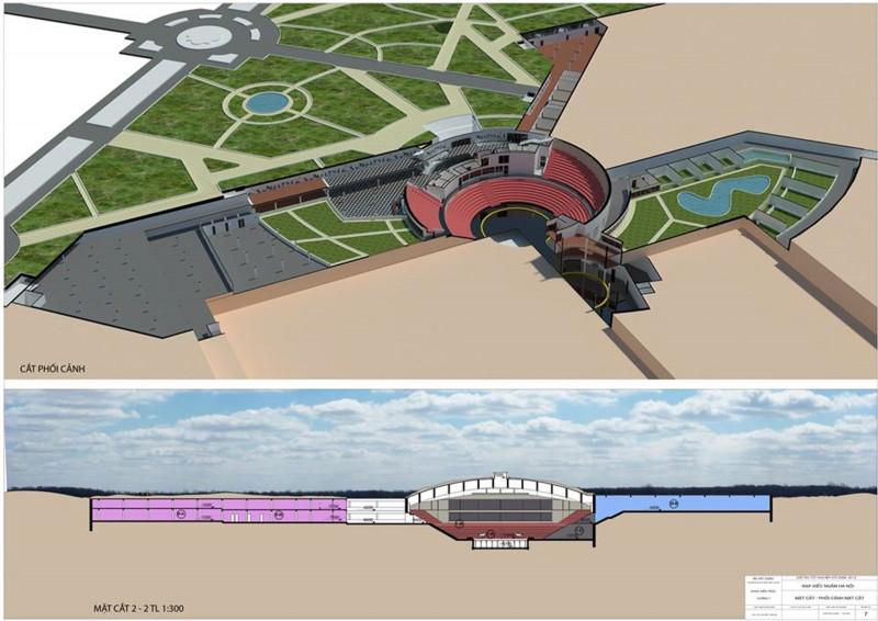 Thiết kế nghiên cứu áp dụng giải pháp 1-1: Rạp xiếc ngầm dưới công viên Thống Nhất.