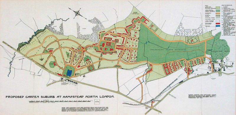 Hình 2: Bản thiết kế đô thị vùng Hamdstead ngoại ô London thế kỷ 19