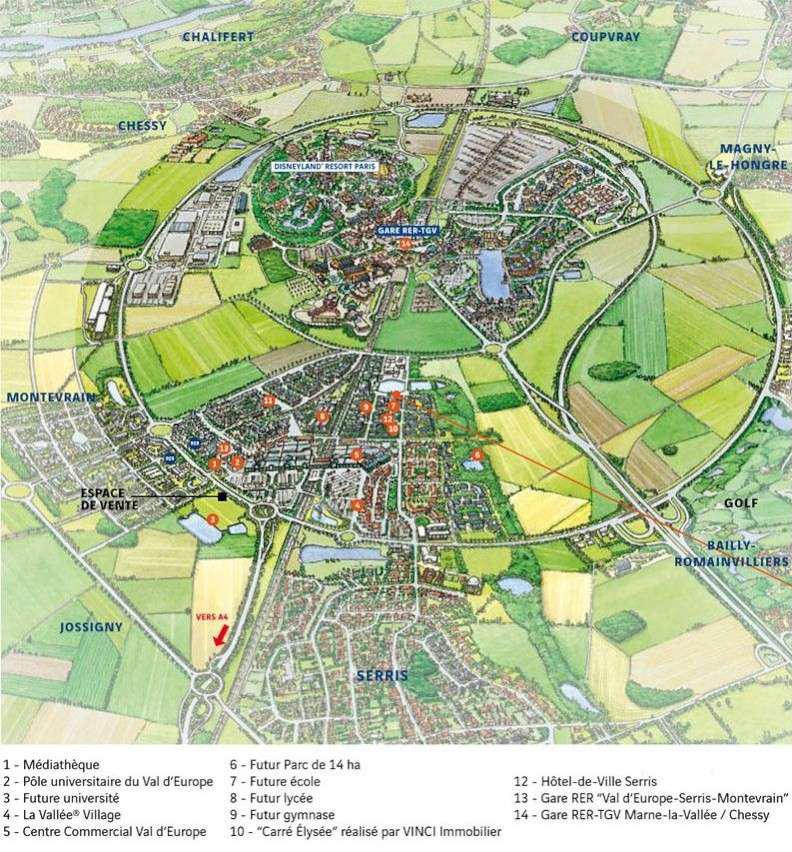Hình 6: ý tưởng phát triển thị trấn Val d'Europe-ngoại ô Paris