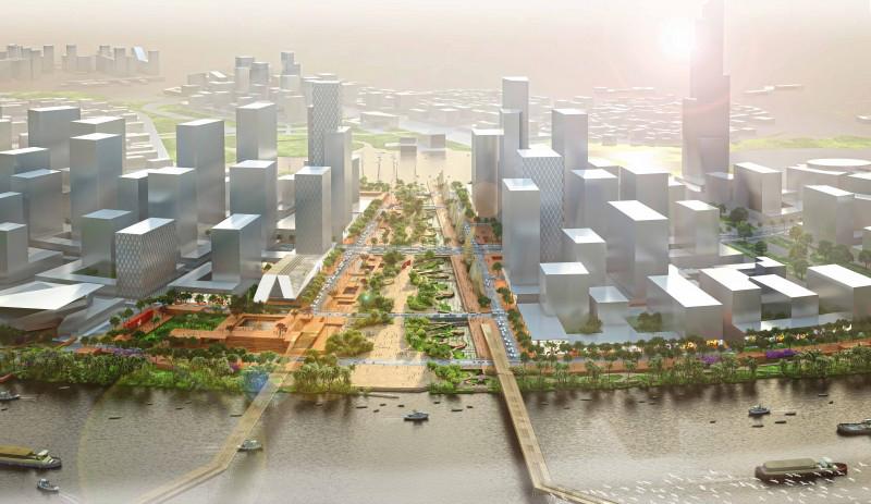 Toàn cảnh không gian Quảng trường Trung tâm và Công viên Bờ sông, thiết kế ý tưởng, quy hoạch 1/500 và cơ sở bởi DE - SO
