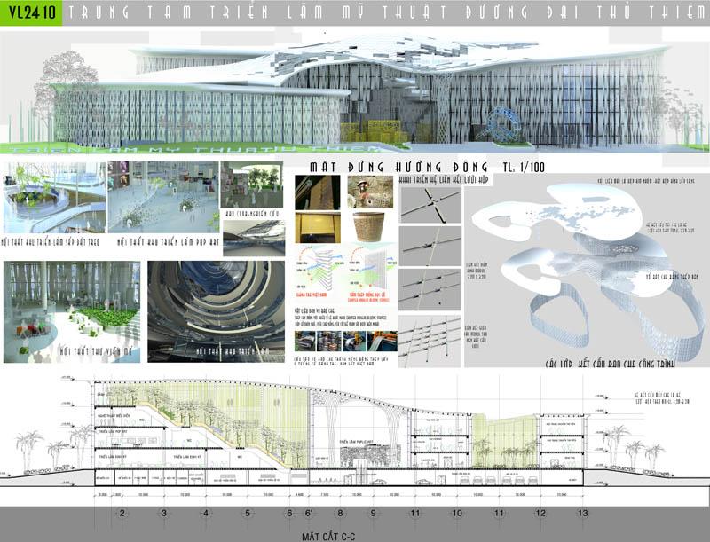Đồ án Trung tâm triển lãm mỹ thuật đương đại Thủ Thiêm đạt giải Nhì Giải thưởng Loa Thành năm 2009   SV. Nguyễn Phương Thảo