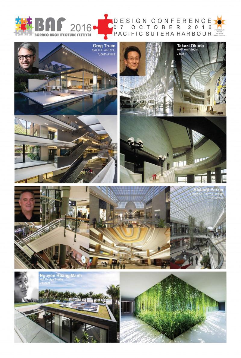Poster của hội nghị thiết kế với sự góp mặt của 4 diễn giả là các KTS nổi tiếng cùng các công trình kiến trúc tiêu biểu.