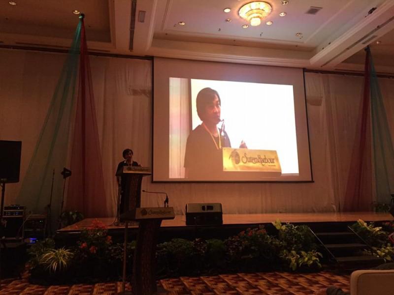 KTS Nguyễn Hoàng Mạnh thuyết trình tại hội nghị.