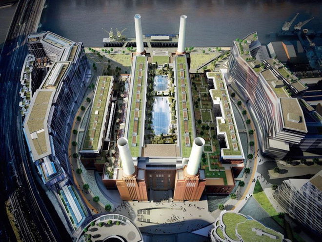 Trạm năng lượng Battersea giáp sông Thames, phía tây nam London.