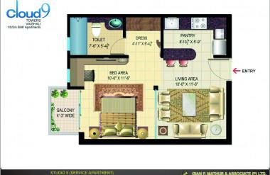 Căn hộ 1 phòng ngủ có tổng diện tích lớn (64m2) và đầy đủ các chức năng