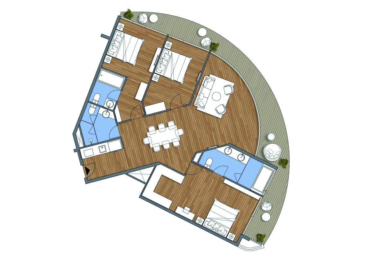 Mặt bằng một căn hộ dịch vụ cao cấp của Condotel Đà Nẵng Furama Ariyana
