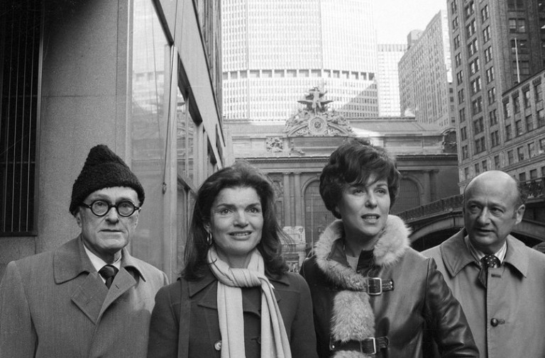 Philip Johnson, Jacqueline Kennedy Onassis, Bess Myerson, and Ed Koch leave Grand Central after a press conference announcing the Committee to Save Grand Central in 1975. Photo: Harry Harris / Courtesy of the Municipal Art Society of New York