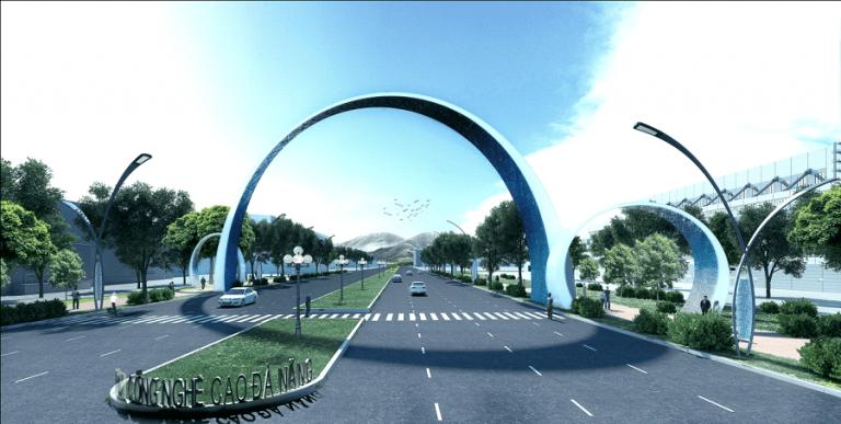 Cổng chào và Trung tâm hành chính Khu công nghệ cao Đà Nẵng