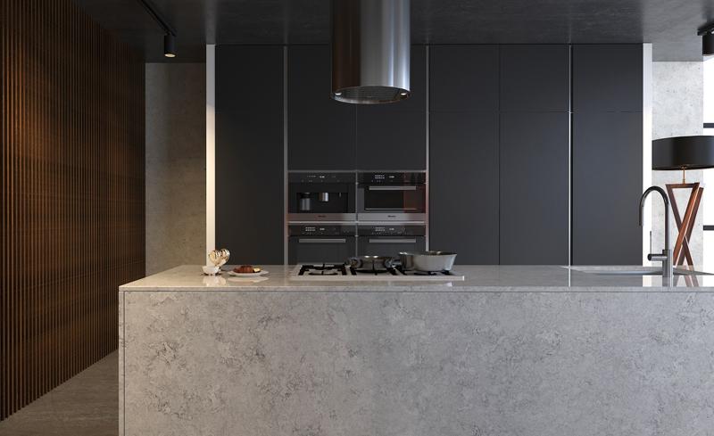 Hiện nay, đá nhân tạo gốc thạch anh là một vật liệu mới trong trang trí nội thất bếp có rất nhiều ưu điểm