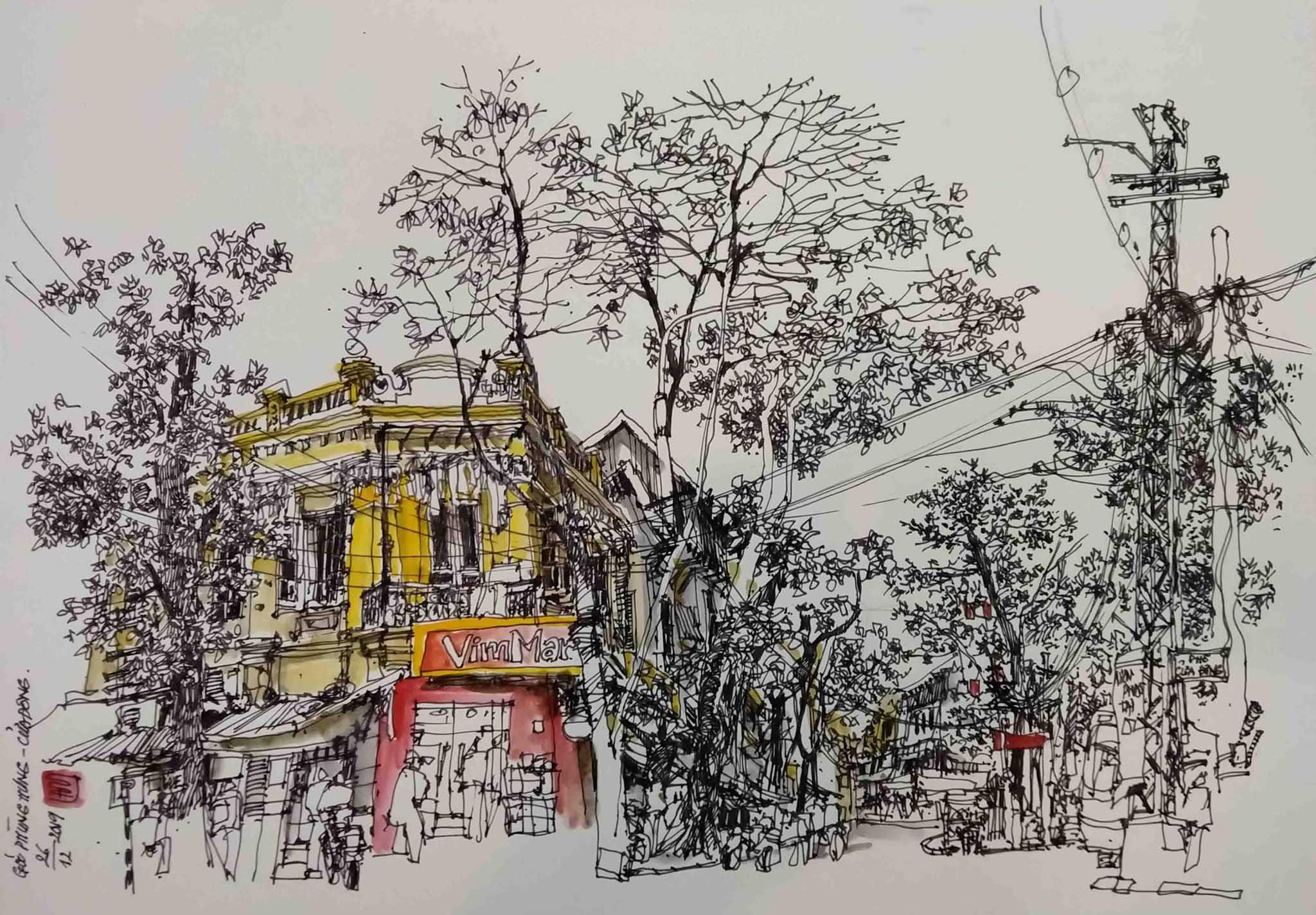 Ký họa: Góc Phùng Hưng - Cửa Đông Tác giả: Nguyễn Hoàng Lâm