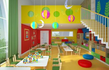 Tổ chức nội thất trong các lớp học trẻ mẫu giáo theo hướng phát triển trí thông minh đa chiều tại các nhà trẻ của Thụy Điển do văn phòng Rosan bosch studio thiết kế. [3]