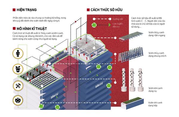 Đề xuất ứng dụng hình thức vườn đô thị mới vào không gian mái tòa nhà chung cư (nguồn nhóm tác giả)