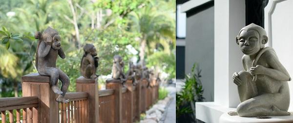 Những chú khỉ ở đảo Sơn Trà xuất hiện xuyên suốt từ ngoài vào trong resort Inter Continental Đà Nẵng, một dấu hiệu nhắc nhở tính đặc trưng của khu vực mà resort tọa lạc.