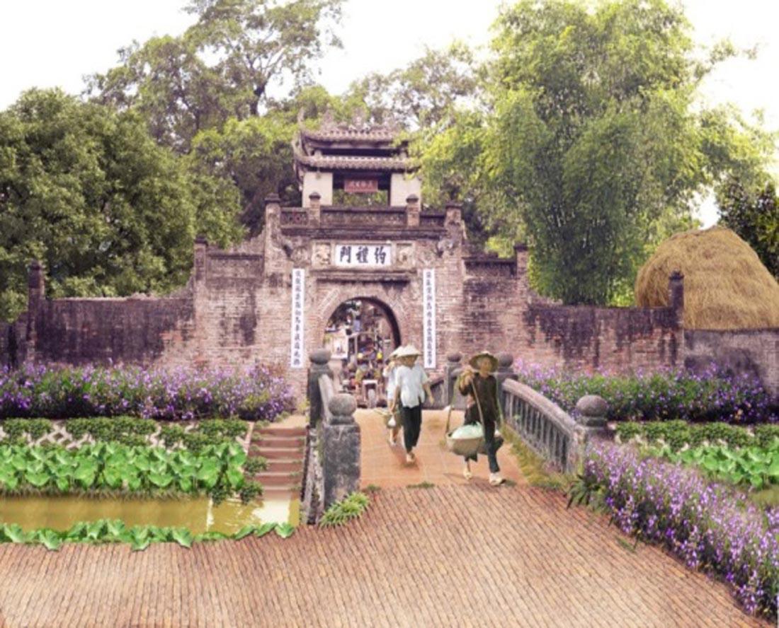 Cổng làng Ước Lễ trước và sau khi được tạo cảnh quan bổ sung (Hình 2)