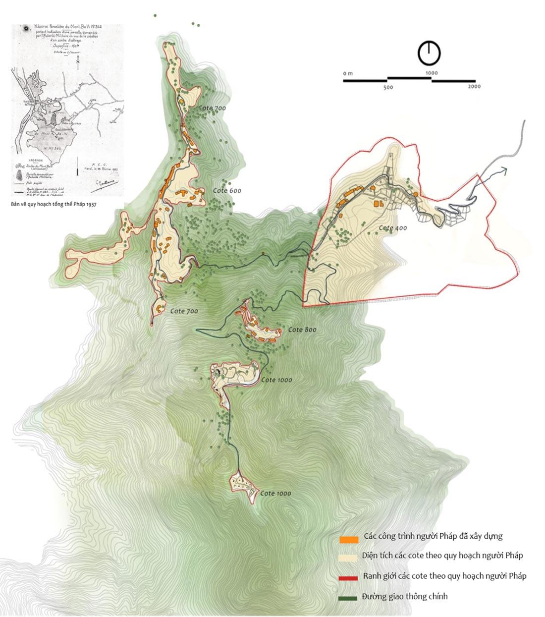 Hình 1: Bản đồ quy hoạch thời Pháp tại Ba Vì (1914 – 1951), vẽ lại dựa theo tư liệu thời Pháp [2]