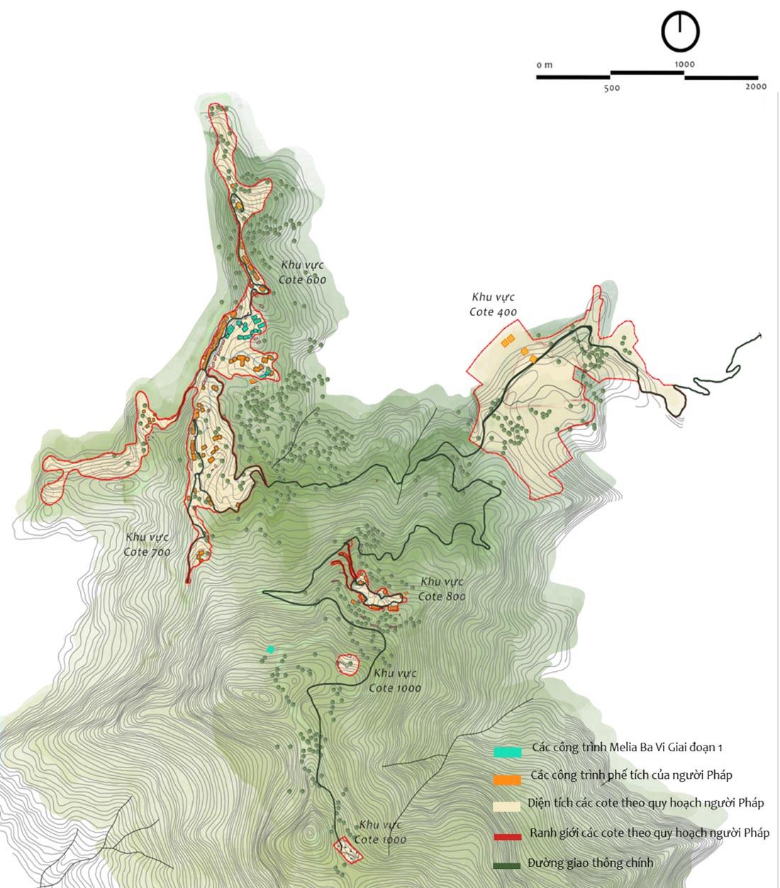 Hình 3. Quy hoạch tổng mặt bằng tại các cốt 600, 700, 800m thuộc phân khu hành chính dịch vụ 1, vườn Quốc gia Ba Vì. [4]
