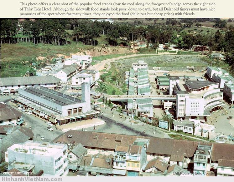 Hình 3: Toàn cảnh khu chợ Đà Lạt 1960, sự kết hợp hài hòa giữa kiến trúc khu cũ và mới (Ảnh: Bill Robie).