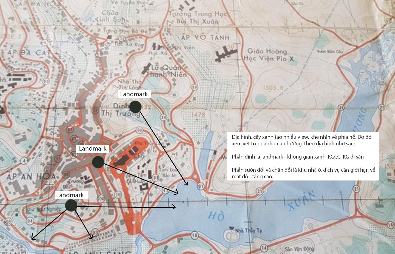 Hình 14: Gợi ý phát triển trục cảnh quan dựa trên bản đồ nền của Đà Lạt cũ