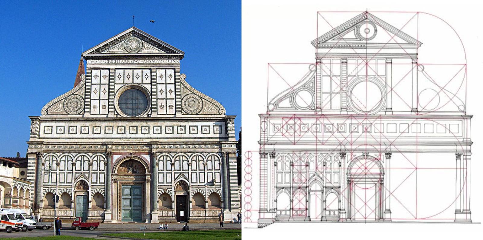Mặt tiền của nhà thờ Santa Maria Novella, được hoàn thành bởi Leon Battista Alberti vào năm 1470, ở Florence, Ý (Ảnh: Georges Jansoone, giấy phép Creative common - CC)