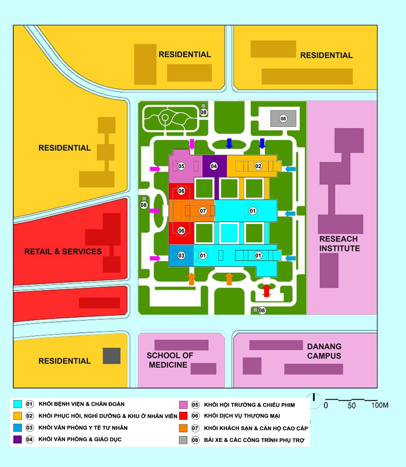 Hình 2 - Tổng mặt bằng Khu Đô thị sức khỏe tại Quận Ngũ Hành Sơn Đà Nẵng, bao gồm Khu trung tâm đa chức năng - Phức hợp Bệnh viện Chất lượng cao HDI (Nguồn: Ngô Viết Nam Sơn)