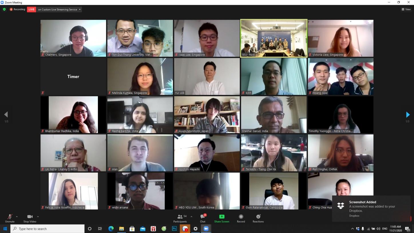 ACARA2020 được tổ chức hình thức thi trực tuyến trên nền tảng công nghệ Zoom (Nguồn: tác giả, 2020)