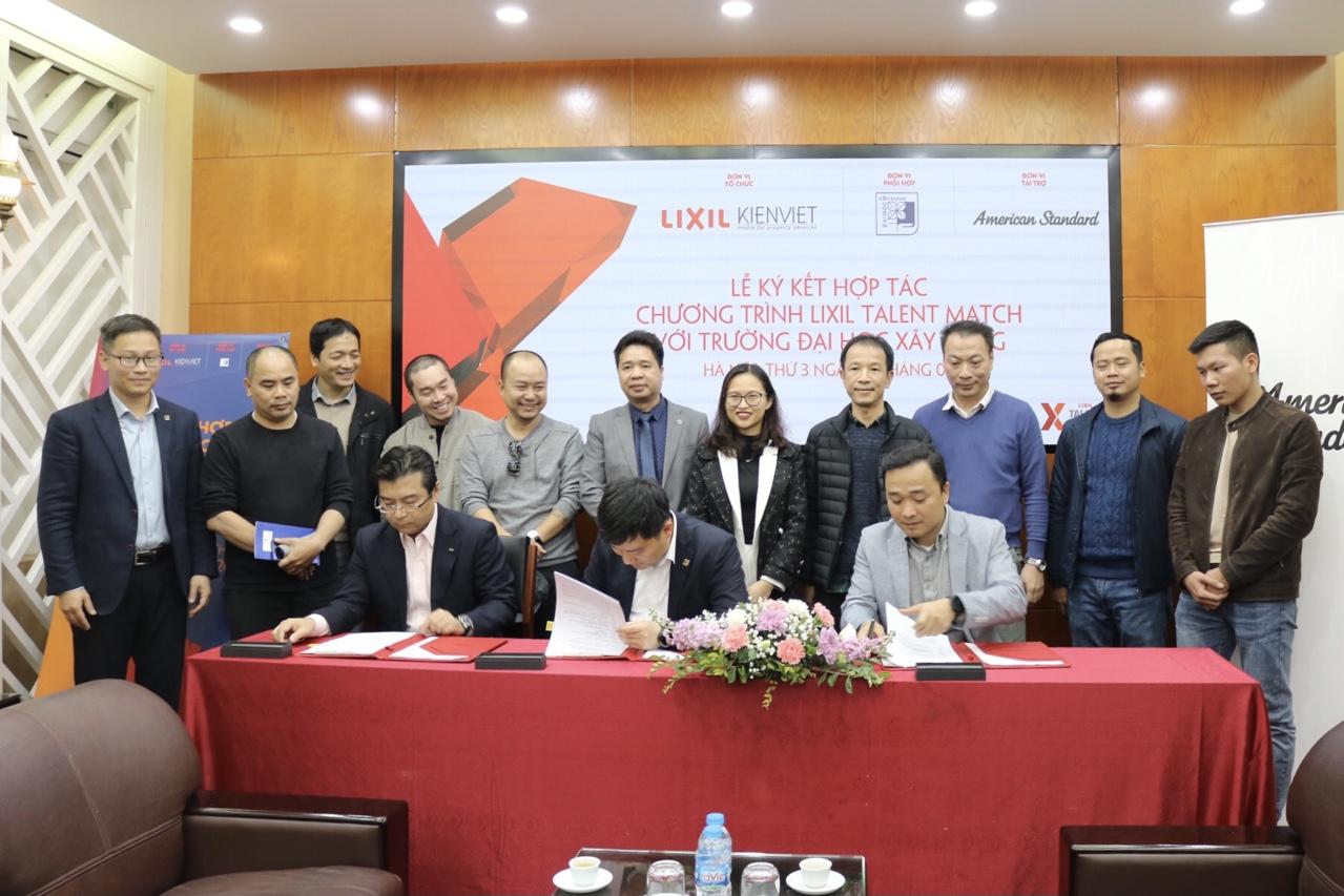 Lễ ký kết thoả thuận hợp tác giữa Trường Đại học Xây dựng - Công ty TNHH LIXIL Việt Nam, CTCP Thiết kế & Truyền thông Kiến Việt