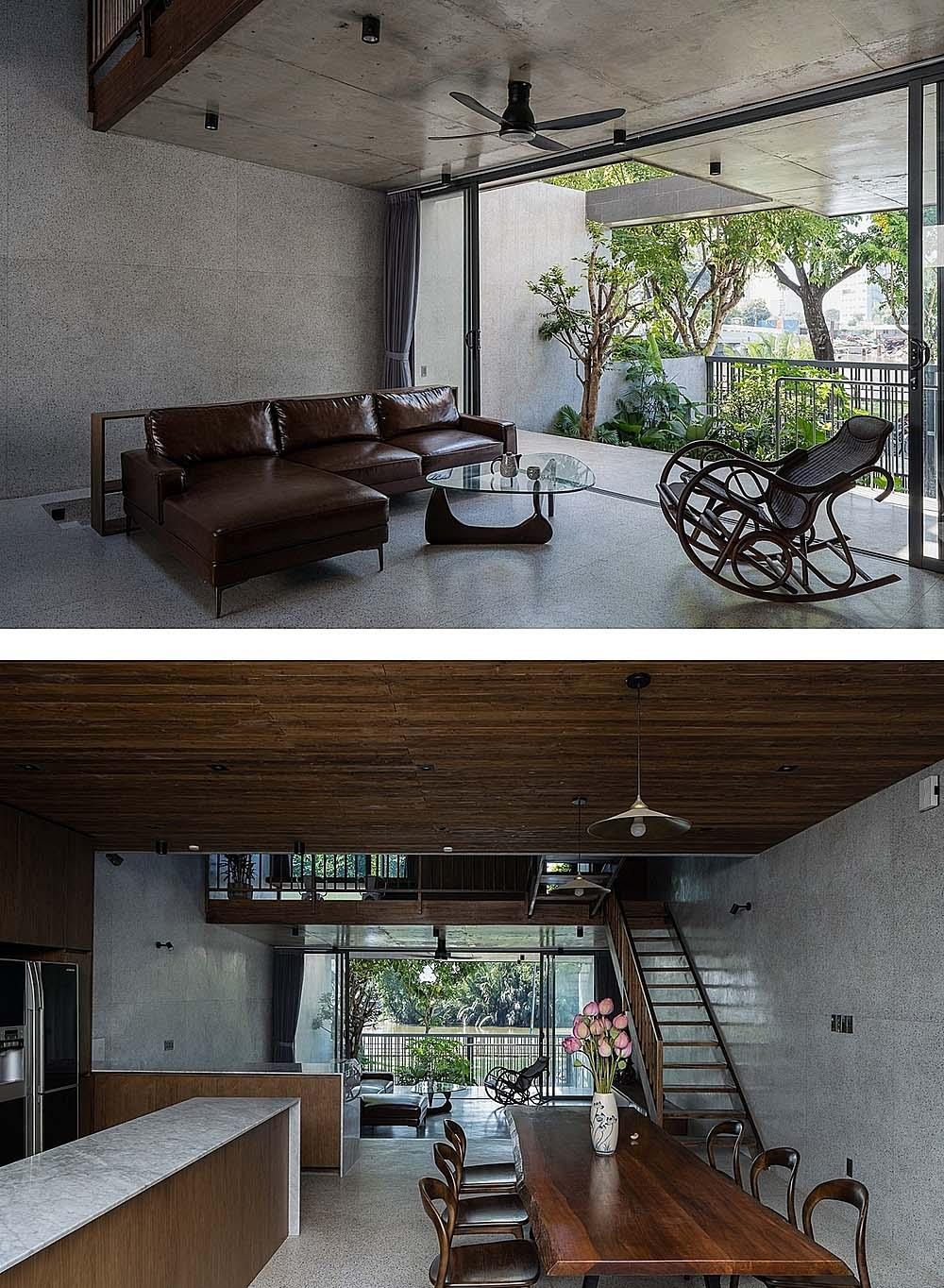 Không gian tầng trệt với phòng khách và bếp - phòng ăn liên thông. Ảnh: Quang Trần.