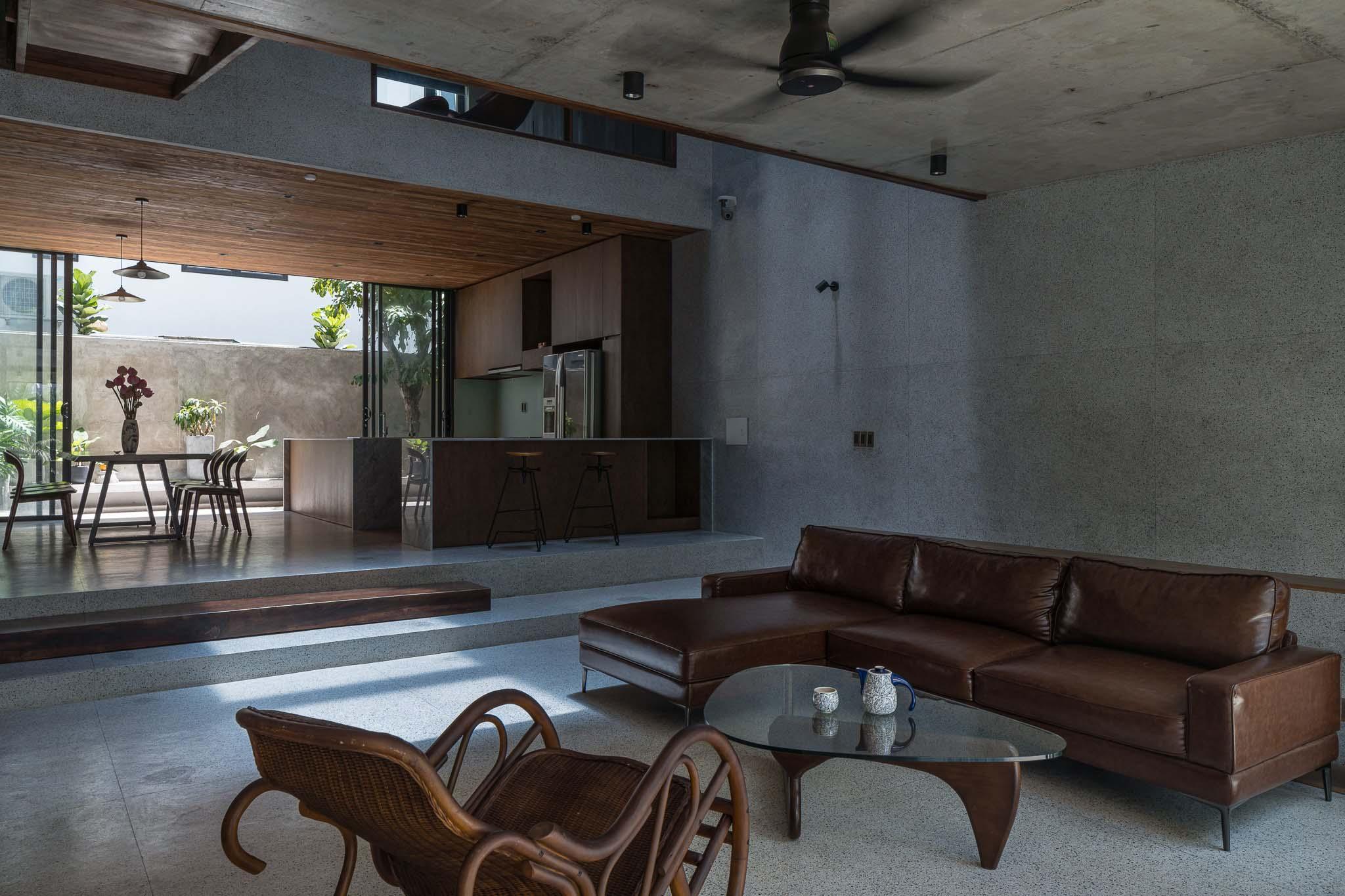 Tầng trệt dành cho không gian sinh hoạt chung.