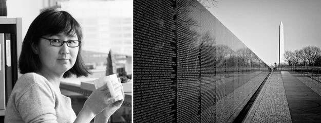 Bên phải: Đài tưởng niệm Cựu chiến binh Việt Nam, Washington, D.C; hình ảnh: Makers và Blackbutterfly7