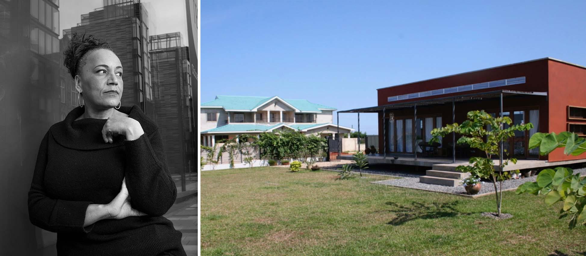 Trái: Lesley Lokko, hình ảnh: Architizer; Phải: Ngôi nhà Lokko, Ghana, hình ảnh: Global Voices