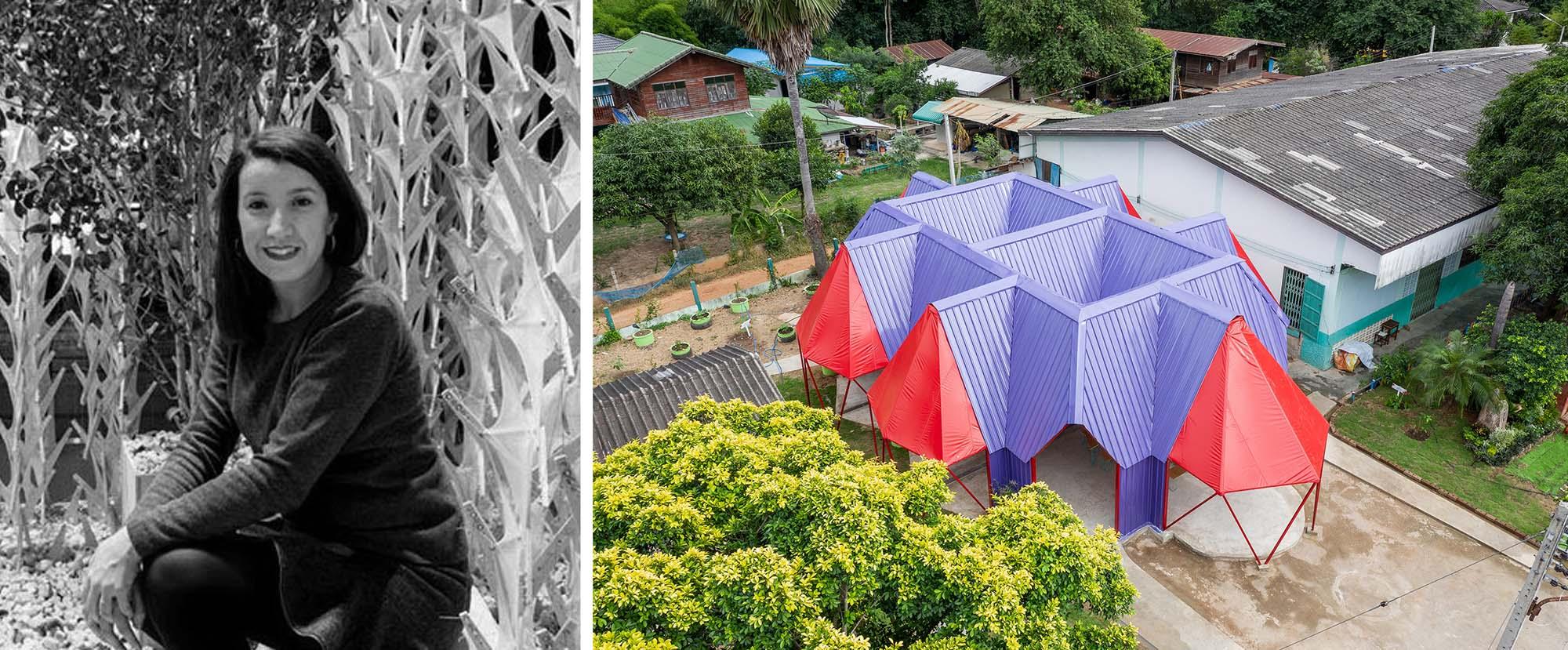 Trái: Déborah López, Castroventosa; Phải: Pylonesque, Trường Ban Wang Toey, Thái Lan. Người chiến thắng giải thưởng A + năm 2020 trong hạng mục Kiến trúc + Cấp nước sinh hoạt