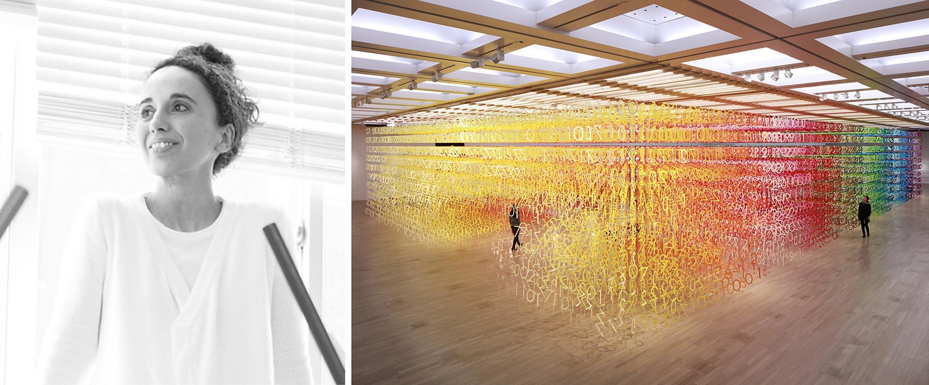 Trái: Emmanuelle Moureaux qua Le Moniteur; Phải: Forest of Numbers, Tokyo, Nhật Bản, Người chiến thắng trong Ban giám khảo Giải thưởng A + năm 2020 trong hạng mục Kiến trúc + Màu sắc