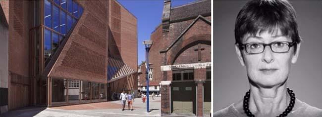 Trái: Trung tâm Sinh viên Saw Swee Hock của Trường Kinh tế London; hình ảnh: Floornature.com và Arnolfini