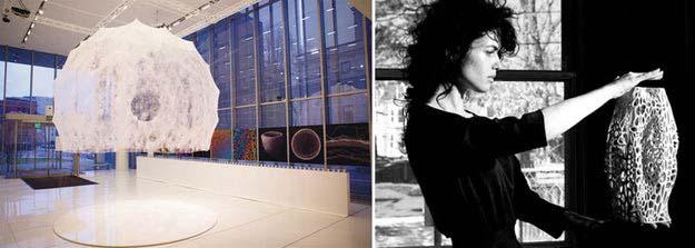Trái: Gian tơ lụa của Neri Oxman, được xây dựng bằng cách thả những con tằm trên khung thép được thiết kế cẩn thận; hình ảnh: Wikipedia và Architizer
