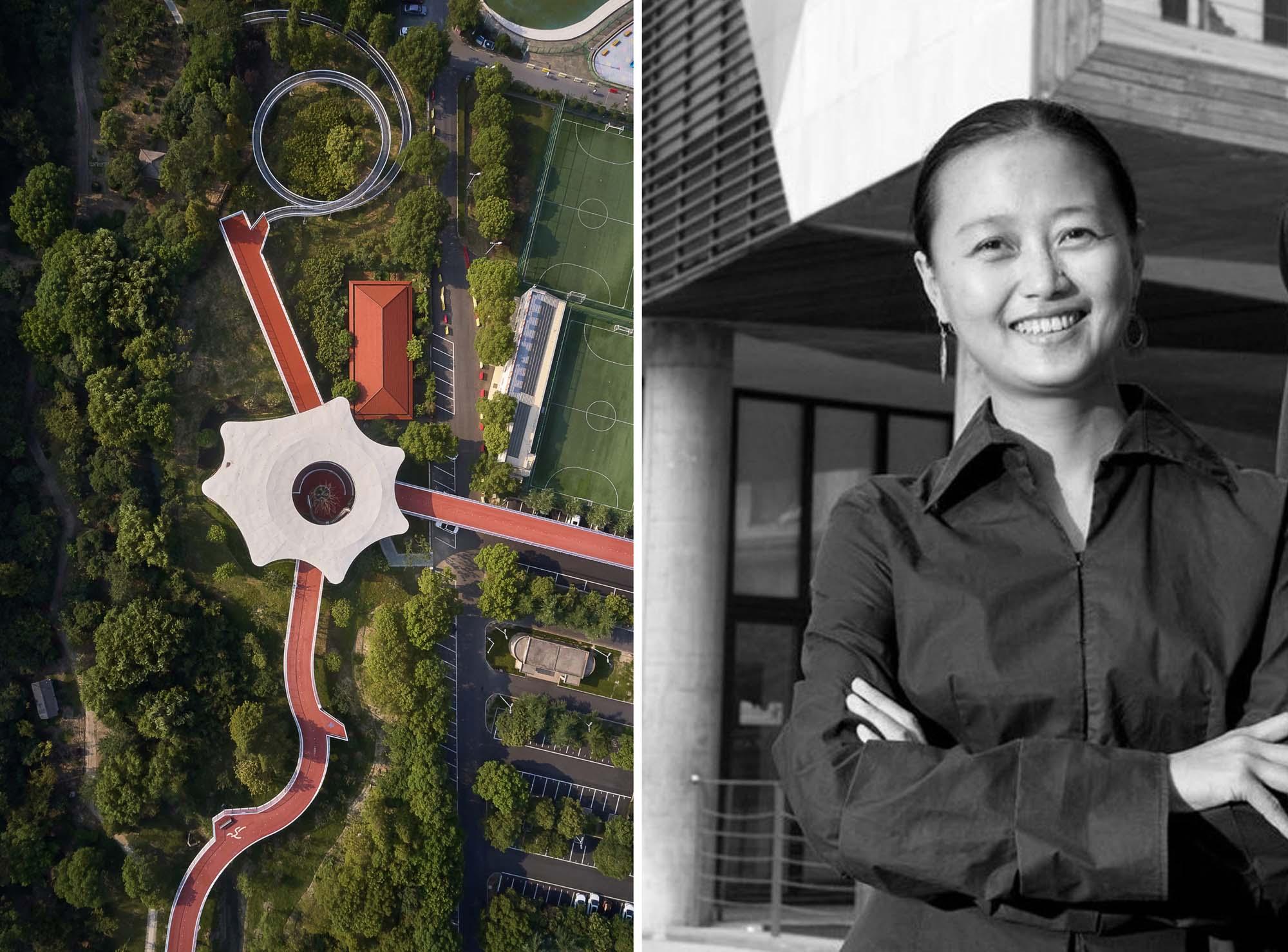 Trái: Jiangyin Greenway - Dệt và may, Giang Tô, Trung Quốc, Ban giám khảo giải thưởng A + 2020 & Winnerin nổi tiếng hạng mục Quy hoạch tổng thể đô thị; Phải: Fang Qun qua Architonic