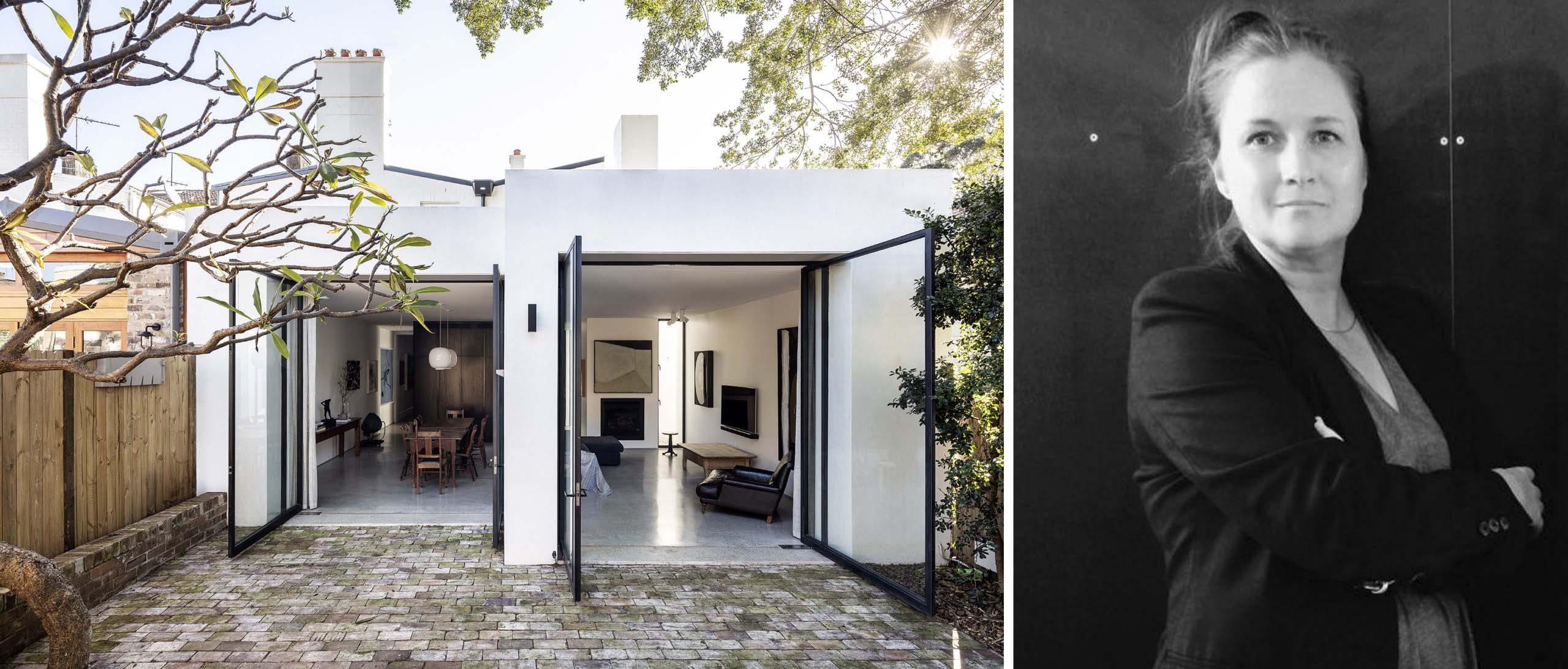 Trái: Nhà ống khói, Sydney, Úc, Người chiến thắng trong Ban giám khảo Giải thưởng A + năm 2020 trong hạng mục Kiến trúc + Sống nhỏ; Phải: Emma Rees-Raaijmakers qua Domain