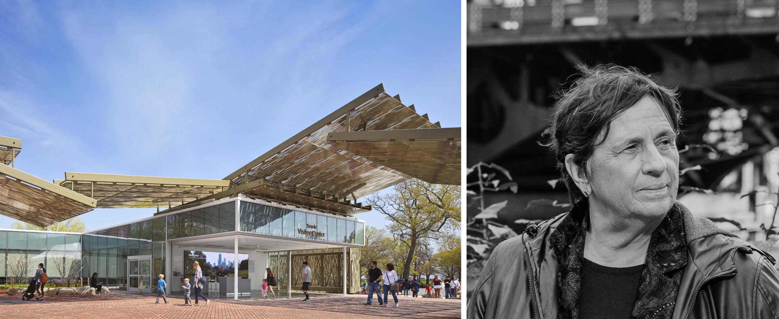 Trái: Trung tâm Du khách Sở thú Lincoln Park của Ross Barney Architects; Phải: Carol Ross Barney, ảnh của Whitten Sabbatini