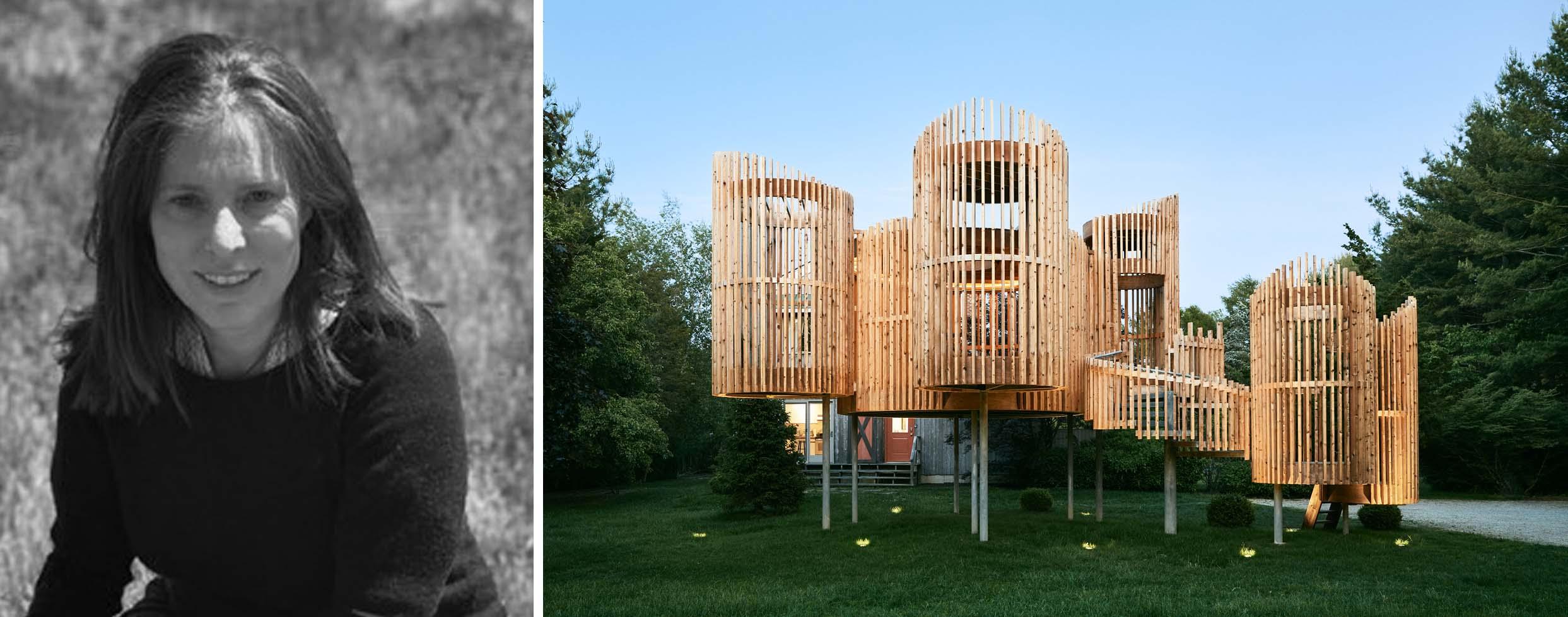 Trái: Valerie Schweitzer qua Houzz; Phải: Bên ngoài Pavillion, Water Mill, NY, Người lọt vào vòng chung kết của Giải thưởng A + 2020 ở hạng mục Khu vườn riêng
