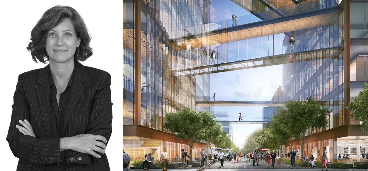 Trái: Corie Sharples, hình ảnh của SHoP Architects; phải: Trụ sở chính của Uber (kết xuất)