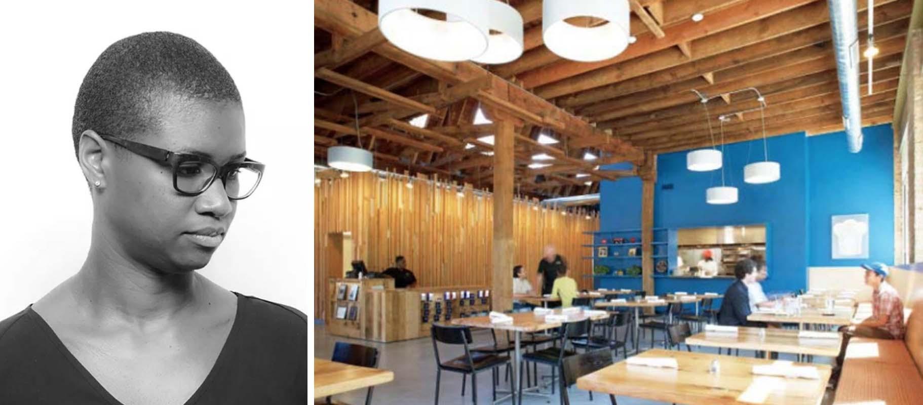 Trái: Chris-Annmarie Spencer, hình ảnh: AIA; phải: Dự án tái sử dụng thích ứng Inspiration Kitchens, hình ảnh Giải thưởng Rudy Bruner
